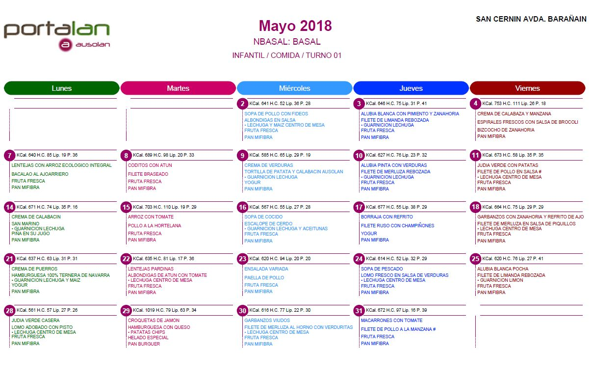 Colegio San Cernin | Menú escolar mayo 2018